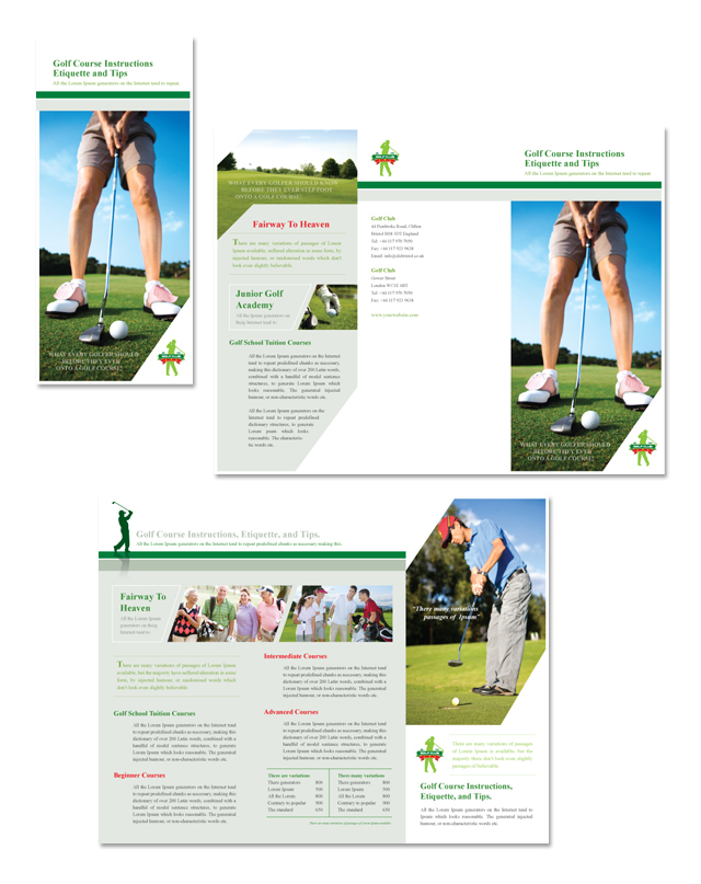 brochure design course - golf course instruction tri fold brochure dlayouts