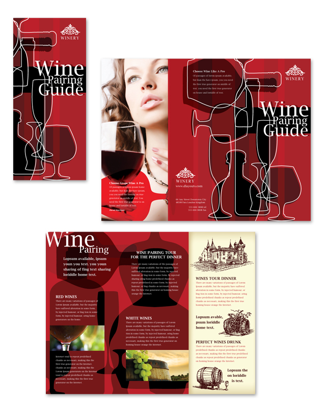 Vineyard winery tri fold brochure template dlayouts for Wine brochure template free
