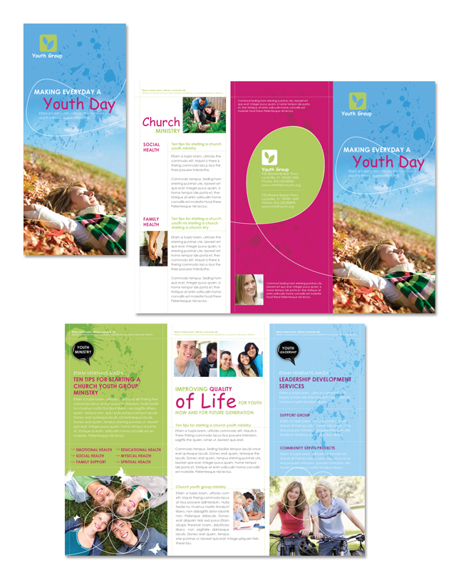 church ministry youth group tri fold brochure template dlayouts graphic design blog. Black Bedroom Furniture Sets. Home Design Ideas