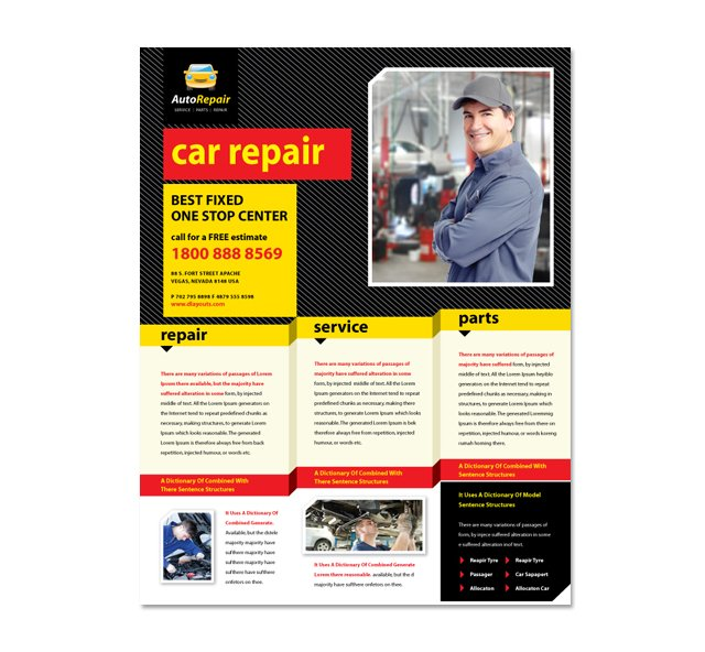 Auto repair services flyer template dlayouts graphic for Service brochure template