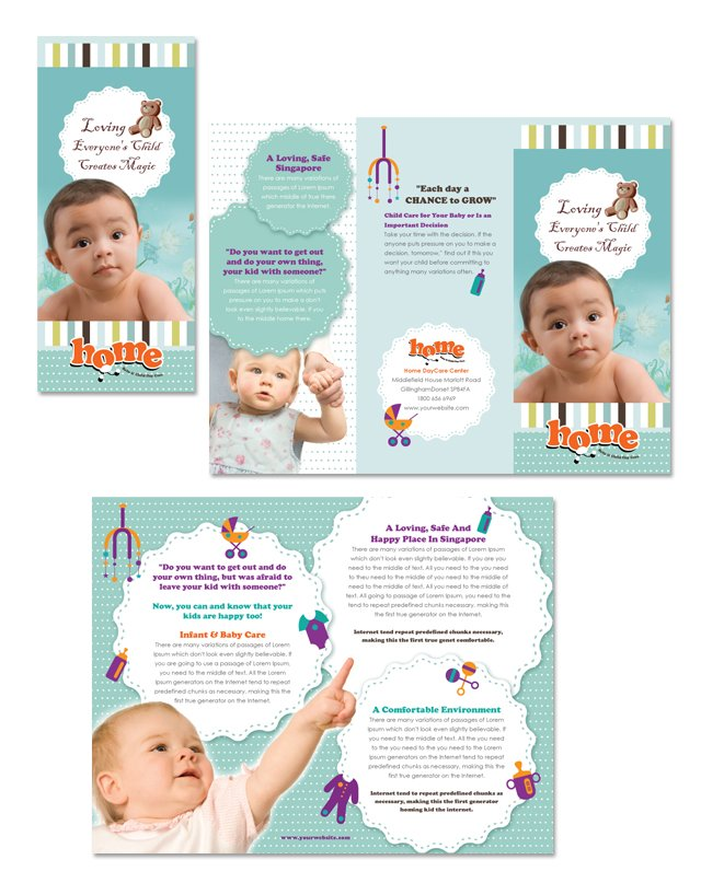 child care brochure templates free - baby toddler child day care tri fold brochure template