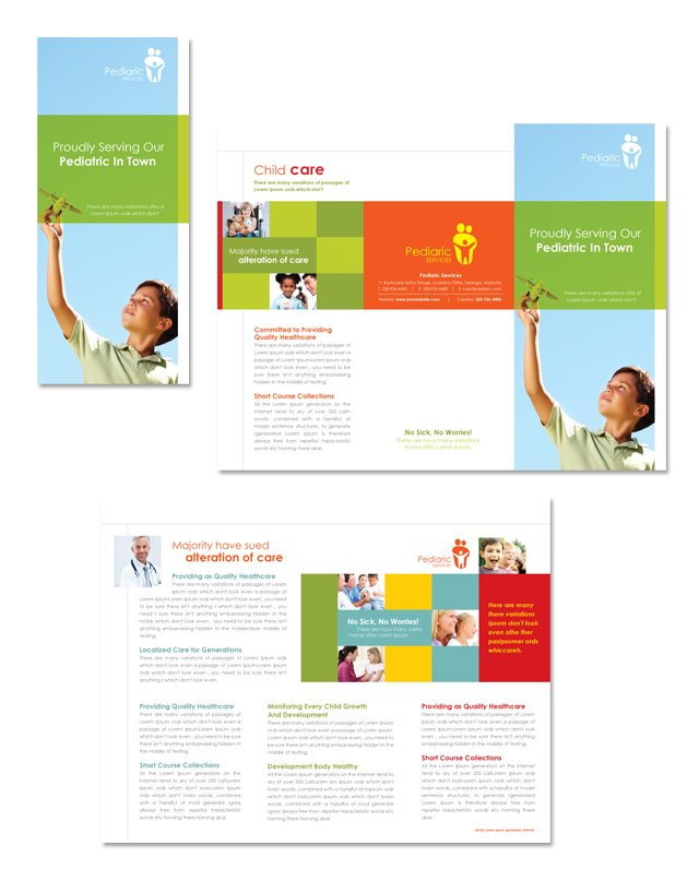 preschool brochure template - pediatrician child care tri fold brochure template