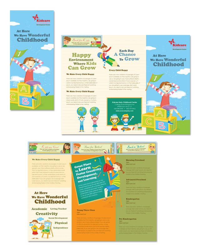 Child development school tri fold brochure template for Free pediatric brochure templates