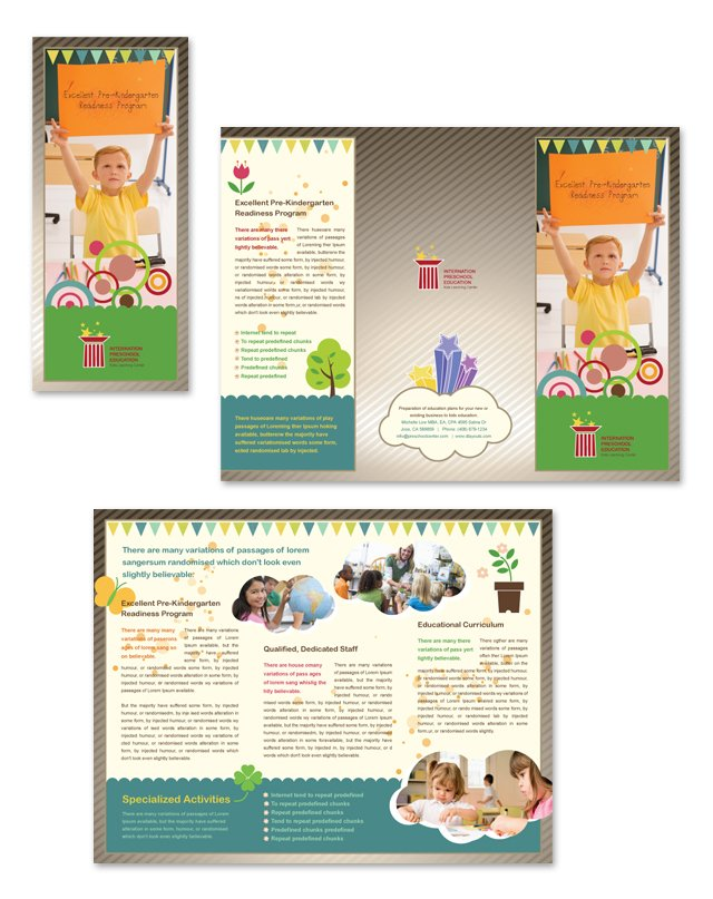Preschool education tri fold brochure template dlayouts for Tri fold school brochure template