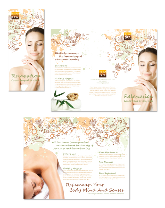 Health beauty spa tri fold brochure template dlayouts for Spa brochure templates free