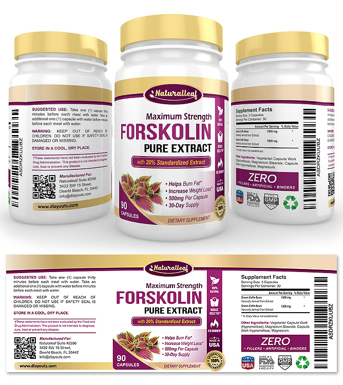 Forskolin Extract Supplement Label Template  Dlayouts Graphic